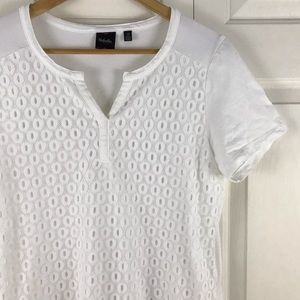 Rafaella Short Sleeve Shirt White Size Large